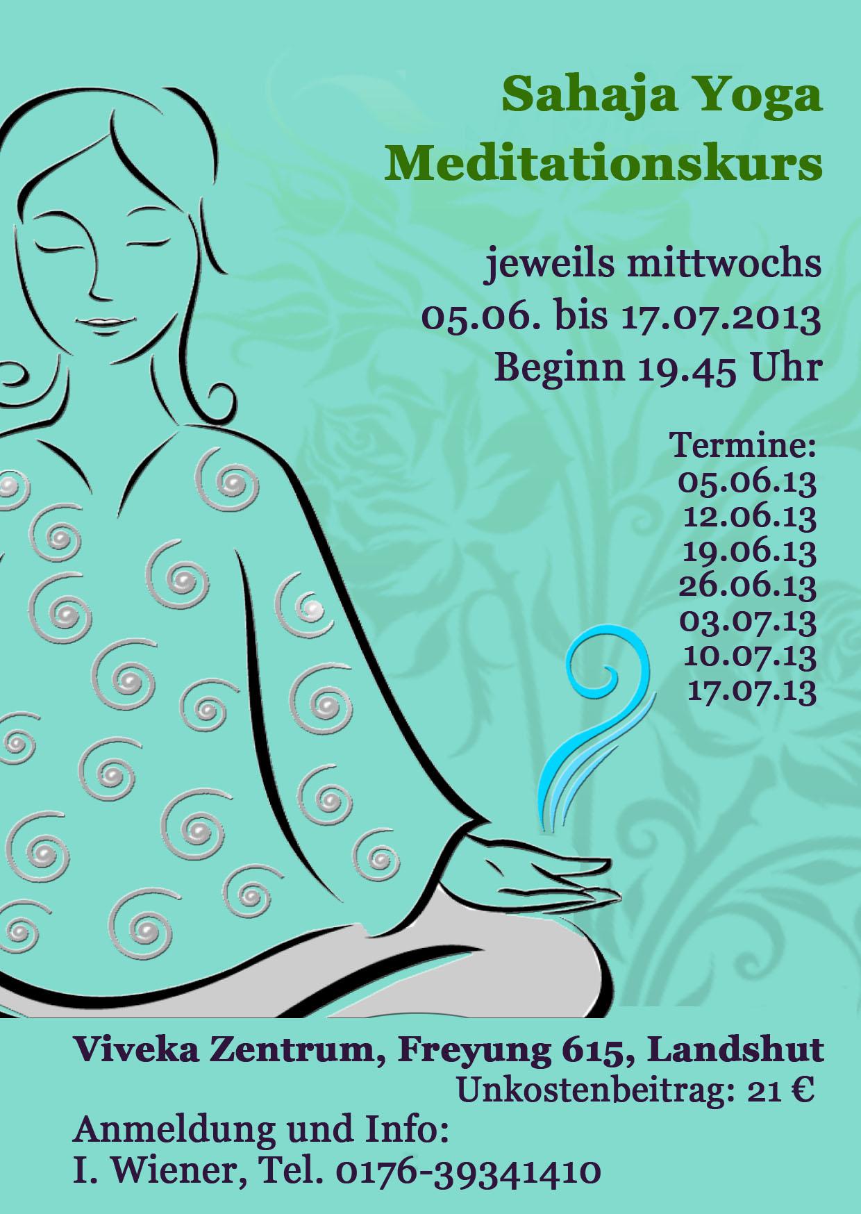 Flyer Meditationskurs Landshut ab Juni 2013